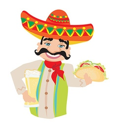 Mexican man holding a cold beer and a taco vector