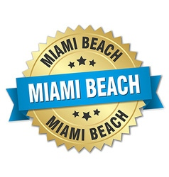 Miami Beach round golden badge with blue ribbon vector