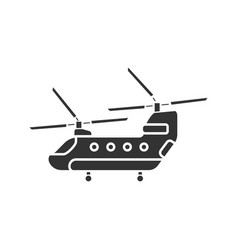 military helicopter glyph icon vector image