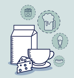 milk in box with set food vector image
