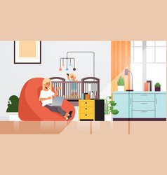 Mother freelancer working at home using laptop vector
