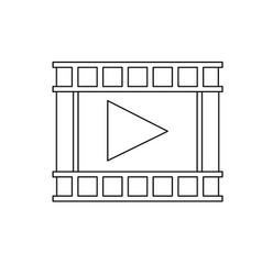 movie film strip icon play button vector image