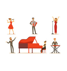 Musicians and singers set vector