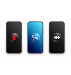 Netflix prime video hbo logo on iphone screen set vector