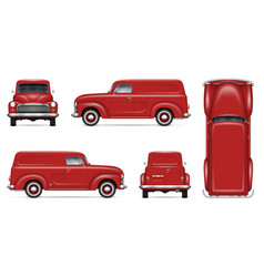 Old red van realistic mock-up vector
