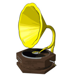old retro gramophone on white background vector image