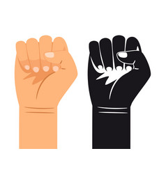 ordinary and black and white hand is clenched into vector image