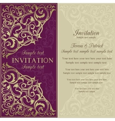 Orient invitation purple and beige vector