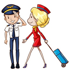 Pilot and flight attendant vector