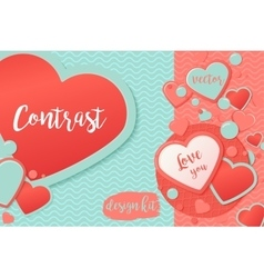 Pink and blue paper hearts with patternred circle vector