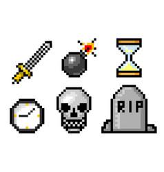 Pixel art 8 bit objects skull and bomb grave vector