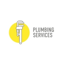 Plumbing repair wrench line flat icon Logo vector image