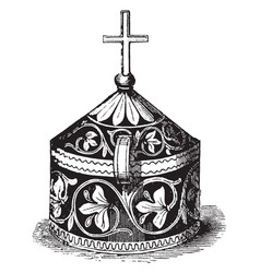Pyx is a small used in the catholic church vector