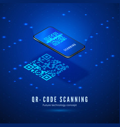 qr code scan isometric concept mobile phone with vector image