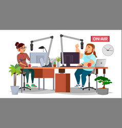Radio dj man and woman broadcasting vector