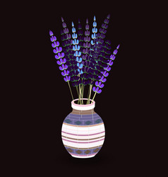 realistic mosaic glass vase with lavender bouquet vector image