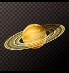 Realistic saturn with texture colorful planet on vector