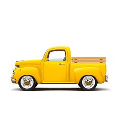 Retro yellow pickup vector