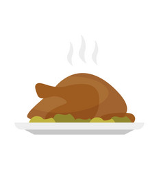 roasted christmas or thanksgiving turkey on a tray vector image