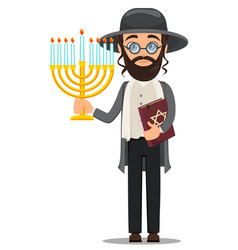 rosh hashanah jew man in traditional clothes vector image