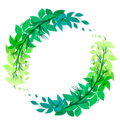round green wreath of leaves with doodle branches vector image