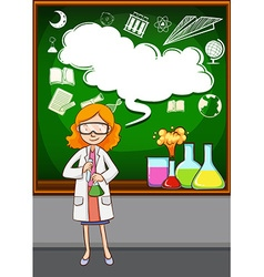 Science teacher in front of the classroom vector