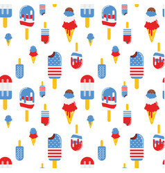 Seamless pattern with patriotic ice cream vector
