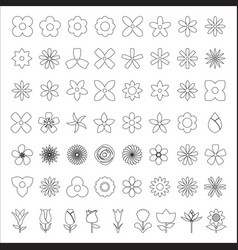Set of flower line icon vector