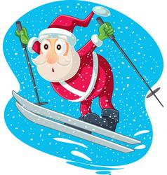 skiing santa cartoon vector image
