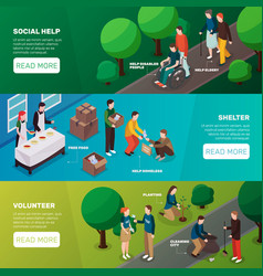 Social help horizontal banners vector