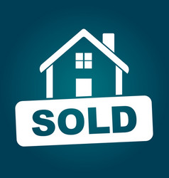 Sold house flat vector
