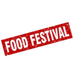 square grunge red food festival stamp vector image