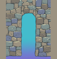 Stone arch historical background medieval wall vector