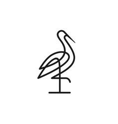 Stork logo colorful line art monoline outline vector