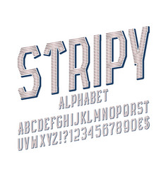 Stripy alphabet witn numbers dollar and euro vector