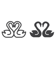 swans in love line and glyph icon vector image