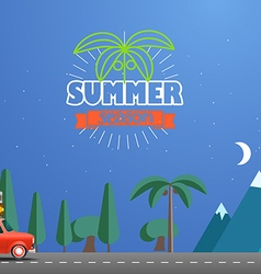 Take Vacation travelling concept with the red car vector image