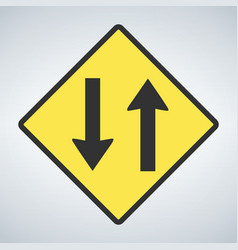 traffic sign two way traffic ahead sign on white vector image