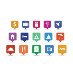 Travel icon pins set vector image vector image