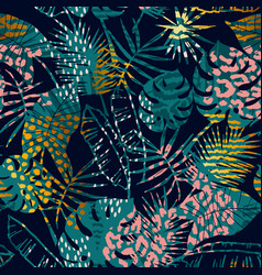 Trendy seamless exotic pattern tropical plants vector