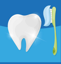 ttooth with toothbrush and toothpaste vector image