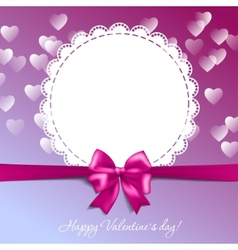 Valentines card with a bow and hearts vector image