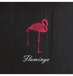 Vintage of a pink flamingo on the old black vector