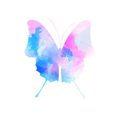 Watercolor imitation butterfly in pink and blue vector