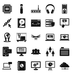wireless technologies icons set simple style vector image