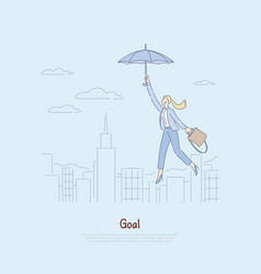 woman floating on umbrella over city getting vector image