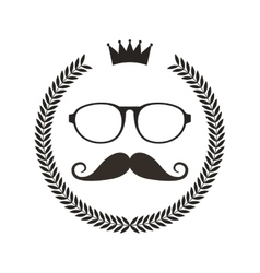 Wreath frame with mustache and glasses hipster vector