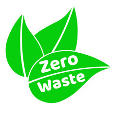 zero waste lettering text sign or logo with green vector image