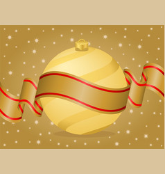 christmas ball and ribbon gold vector image vector image