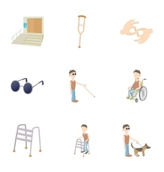 Disabled icons set cartoon style vector image
